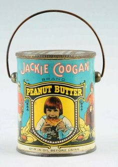 This Jackie Coogan tin has very minor overall wear. Size on Sep 2015 Vintage Tins, Vintage Labels, Vintage Kitchen, Vintage Food, Vintage Stuff, Vintage Antiques, Peanut Butter Brands, Tin Containers, Tin Candles