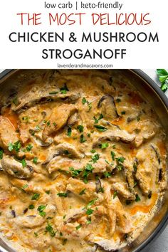 Chicken Mushroom Stroganoff (The MOST delicious recipe) - Lavender & Macarons This INCREDIBLY delicious Chicken And Mushroom Stroganoff is going to become your favorite go-to recipe for when you need a yummy dinner as Stroganoff Sauce Recipe, Pollo Stroganoff, Mushroom Stroganoff, Easy Chicken Stroganoff Recipe, Easy Chicken Recipes, Quick Recipes, Healthy Recipes, Fancy Recipes, Arrows