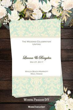 Catholic Wedding Programs, DIY Printable Order of Service Marriage Program Templates, Mint Green & Champagne Damask.