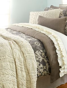 Bedding With It All.  Softness Texture, Print.  Ruffles For Her, Solids For Him.  you Could Do In A Different Color Palate. Versatility