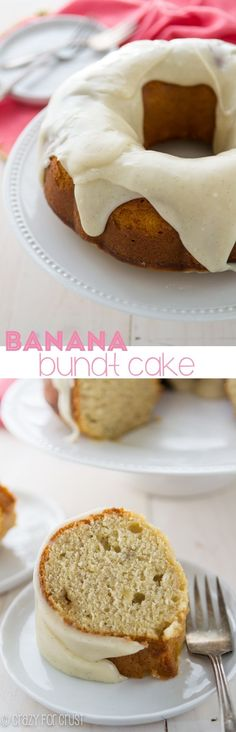 Banana Bundt Cake with Cream Cheese Frosting | crazyforcrust.com