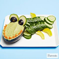 "For your next playdate or party, create this ""crocomole"" and watch the kids chomp, chomp, chomp."
