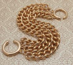 Vintage Gold Tone  3 Chain Link Bracelet by StarliteVintageGems #Vintage #Jewelry #1980s #Fashion #Style #Design #Etsy #VintageJewelry