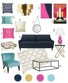 Aqua Living Room Decor Color Inspiration Navy Aqua Pink and Gold Home Decor Inspiration, Color Inspiration, Inspiration Boards, Living Room Decor, Bedroom Decor, Decor Room, Living Rooms, My New Room, Room Colors
