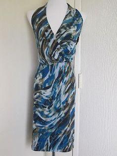 Ann Taylor Size 16 Green Black Graphic Print Silk Halter Backless Sexy Dress   eBay