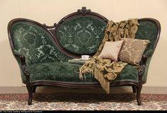Victorian 1870 Antique Hand Carved Walnut Sofa, Velvet Upholstery