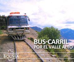 Conozca y pasee por el Bus carril, una adaptación de un bus al riel por donde pasan trenes en Cochabamba, haga click en la imagen para saber mas