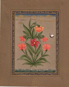 """Mughal Floral Handmade Art Indian Miniature Flower Nature Mogul Floral Painting, """"Flowers & Beetle Mughal Painting."""""""