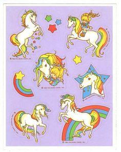 Hallmark Rainbow Brite & Starlite Horse Sticker Sheet Vintage 1983 Version B
