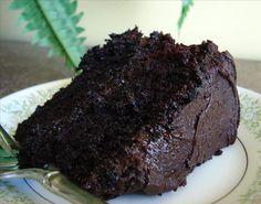Dark Chocolate Cake!  This looks decadently dark.