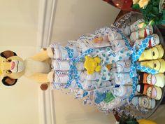 Lion king diaper cake to match the nursery theme.