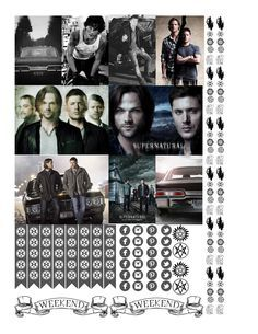"""Supernatural """"sticker kit"""" full boxes Free THP (the happy planner by MAMBI) sticker. Free printable sticker layout may be subject to copyright not intended for retail; personal use only"""