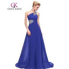 Grace Karin Evening Dresses Long One Shoulder Floor Length Chiffon Formal  Prom Dress Gowns Robe de. Wedding Bridesmaid ... ae6345367440