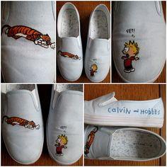 Calvin and Hobbes shoes ~ pbandjillian