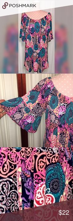 Plus Size Yahada Boutique style tunic Yahada Boutique style tunic. Beautiful vibrant colors. Great with skinny jeans or leggings. Nice tunic length. New, no tags Yahada  Tops Tunics