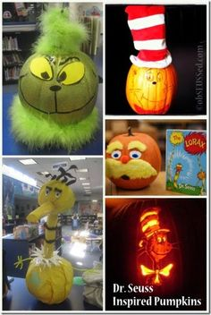 Dr Seuss inspired pumpkins obSEUSSed
