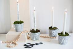Comment créer des bougeoirs de l'avent avec des tasses IKEA par le blog La Délicate Parenthèse.