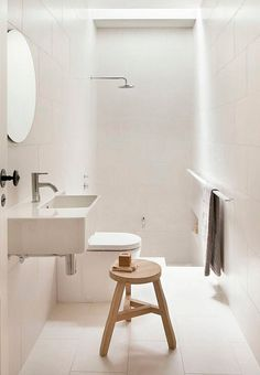 Clean, white and simple bathroom with a bathtub in the floor.