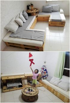 Right into this image, we would make you offer out with the so majestic idea of the corner couch designing through the wood pallet concept over it. Low bottom textured framework pallet plank slats are part of this design as resting with the coverage space of the storage in the bottom spacing.