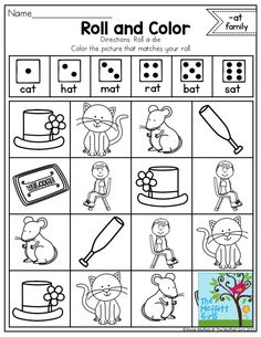 Roll and Color with CVC Word Families- A great way to help EMERGENT READERS learn how to decode CVC words. So FUN!