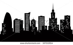 Cartoon skyline silhouette of the city of Warsaw, Poland.