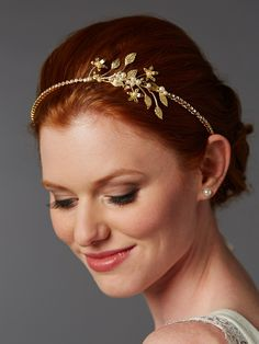 Lovely! Gold plated Baby Pearl Floral Sprig Bridal Headband - Affordable Elegance Bridal -