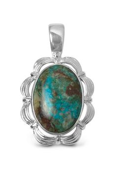 Sterling Nevada Chrysoverde Pendant Necklace.