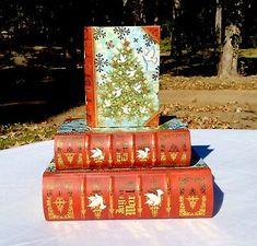 Punch-Studio-Christmas-Tree-Keepsake-Decorative-Secret-Storage-Book-Boxes-3-New