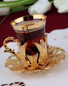 Amazon.com | Turkish Tea Set for 6 - Glasses with Brass Holders Lids Saucers Tray & Glass Spoons, 25 Pcs (Gold): Spoons