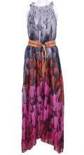 Grey Red Sleeveless Floral Belt Chiffon Dress $88.71