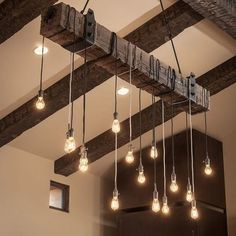 DIY Wood Beam Chandelier via @homeadore
