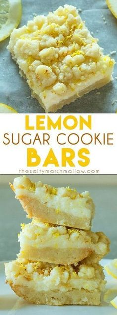 Sugar Cookie Bars Lemon Sugar Cookie Bars: These lemon bars are one of the best easy to make lemon desserts! They have a sugar cookie crust and tangy lemon cheesecake filling!Lemon Sugar Cookie Bars: These lemon bars are one of the best easy to make lemo Dessert Oreo, Coconut Dessert, Bon Dessert, Brownie Desserts, Easy Desserts, Delicious Desserts, Cheesecake Desserts, Marshmallow Cheesecake, Marshmallow Recipes