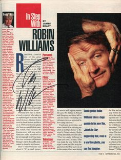 ROBIN WILLIAMS - Interview Page from Parade Magazine (1999) - SIGNED