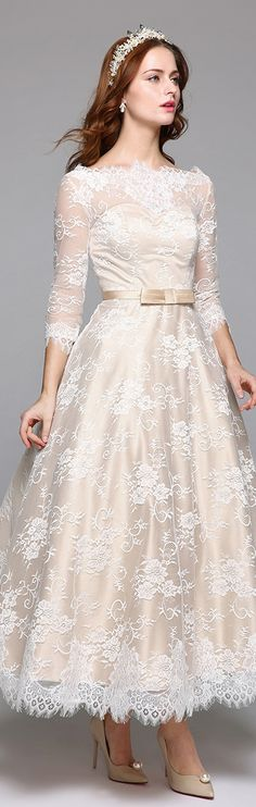 A-Line Illusion Neckline Ankle Length Lace Over Satin Custom Wedding Dresses with Lace Sash / Ribbon by LAN TING BRIDE®
