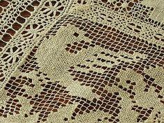 Em's Heart Antique Linens -Antique Normandy Lace Tablecloth