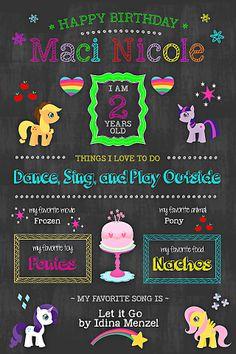Pony Chalkboard Birthday Poster