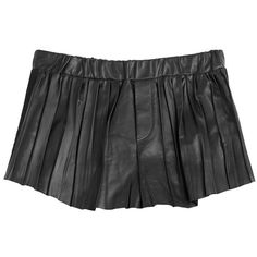Rag & Bone Leather Goa Shorts (€247) ❤ liked on Polyvore featuring shorts, black, pleated shorts, stretch waist shorts, elastic waist shorts, drapey shorts and mini shorts