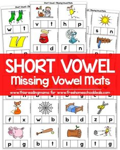 Short Vowel - Missing Vowel Mats This Reading Mama for Free Homeschool Deals Phonics Reading, Teaching Phonics, Kindergarten Literacy, Early Literacy, Teaching Reading, Preschool, Literacy Centers, Guided Reading, Short Vowel Activities