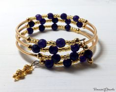 Russican Amethyst Memory Wire Bracelet  By BonnieGJewels, $29.00