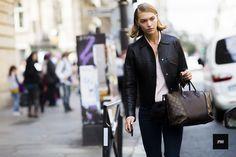 Model Arizona Muse wearing a Louis Vuitton bag during Paris Fashion Week Spring Summer 2017