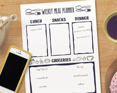 Chelsey Design by ChelseyDesignCanada on Etsy Bujo, Printable Planner, Printables, Dinner This Week, Weekly Meal Planner, Lunch Snacks, Stickers, Meals For The Week, Time Management