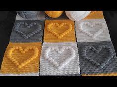 Crochet Crafts, Easy Crochet, Crochet Baby, Knit Crochet, Tatting Patterns Free, Baby Knitting Patterns, Crochet Patterns, Crochet Heart Blanket, Granny Square Crochet Pattern