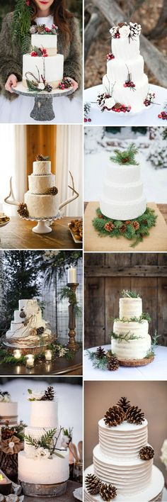 pine cones inspired white cream winter wedding cakes