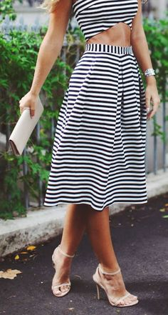Women's fashion | Striped crop top and high waisted midi skirt