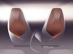 Volkswagen I.D. Vizzion Concept Interior Seats Design Sketch Render Car Interior Sketch, Car Interior Design, Interior Design Sketches, Industrial Design Sketch, Car Design Sketch, Interior Rendering, Commercial Interior Design, Automotive Design, Car Sketch