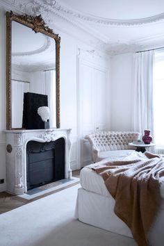 Parisian Interior by Gilles et Boissier Dream Bedroom, Home Bedroom, Mirror Bedroom, Bedroom Ideas, Serene Bedroom, Design Bedroom, Parisian Bedroom Decor, Bedroom Couch, Bedroom Simple