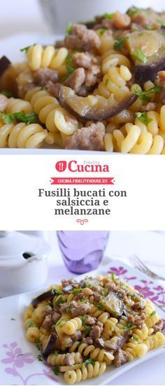 Fusilli bucati con salsiccia e melanzane Veggie Recipes, Wine Recipes, Pasta Recipes, Cooking Recipes, Healthy Recipes, Italian Pasta, Italian Dishes, Italian Recipes, Italy Food