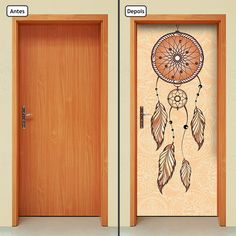 Adesivo Decorativo de Porta - Filtro dos Sonhos - 782mlpt  Renove seu ambiente com o adesivo de porta da Letto*, muito prático, rápido e sem sujeira.  Produto autocolante, pronto para aplicação, sua porta de cara nova em questão de minutos.  Adesivo na medida padrão de 210cm x 90cm. Se a porta fo... Painted Bedroom Doors, Art Room Doors, Painted Doors, Yoga Studio Decor, Wall Painting Decor, Wall Decor, Home Wall Art, Home Art, Public Space Design