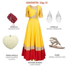 Classic festive hues of red and yellow get an understated edge when paired with silver and pearly accessories. Festive, Women Wear, Ootd, Yellow, Formal Dresses, Classic, Silver, Accessories, Style