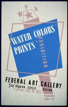 art, vintage, vintage posters, federal art project, wpa, retro prints, free download, graphic design, exhibition, Water Colors Prints Vintage Poster - Federal Art Gallery